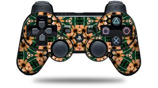 Sony PS3 Controller Decal Style Skin - Floral Pattern Orange (CONTROLLER NOT INCLUDED)