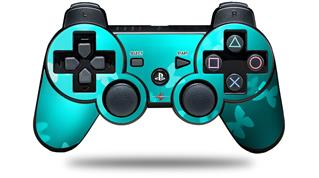 Sony PS3 Controller Decal Style Skin - Bokeh Butterflies Neon Teal (CONTROLLER NOT INCLUDED)