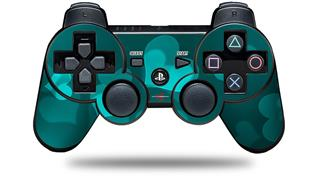Sony PS3 Controller Decal Style Skin - Bokeh Hearts Neon Teal (CONTROLLER NOT INCLUDED)
