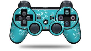 Sony PS3 Controller Decal Style Skin - Winter Snow Teal Blue (CONTROLLER NOT INCLUDED)
