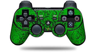Sony PS3 Controller Decal Style Skin - Folder Doodles Green (CONTROLLER NOT INCLUDED)