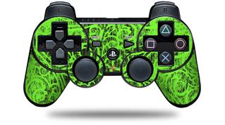 Sony PS3 Controller Decal Style Skin - Folder Doodles Neon Green (CONTROLLER NOT INCLUDED)