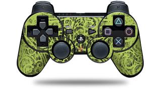 Sony PS3 Controller Decal Style Skin - Folder Doodles Sage Green (CONTROLLER NOT INCLUDED)