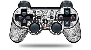 Sony PS3 Controller Decal Style Skin - Folder Doodles White (CONTROLLER NOT INCLUDED)