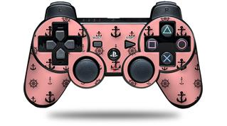 Sony PS3 Controller Decal Style Skin - Nautical Anchors Away 02 Pink (CONTROLLER NOT INCLUDED)