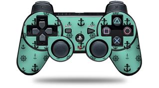 Sony PS3 Controller Decal Style Skin - Anchors Away 02 Seafoam Green (CONTROLLER NOT INCLUDED)