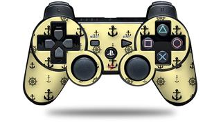 Sony PS3 Controller Decal Style Skin - Nautical Anchors Away 02 Yellow Sunshine (CONTROLLER NOT INCLUDED)