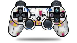 Sony PS3 Controller Decal Style Skin - Beach Party Umbrellas White (CONTROLLER NOT INCLUDED)