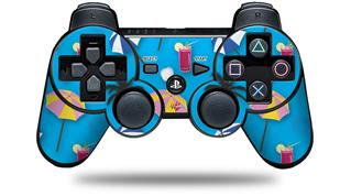 Sony PS3 Controller Decal Style Skin - Beach Party Umbrellas Blue Medium (CONTROLLER NOT INCLUDED)