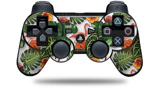Sony PS3 Controller Decal Style Skin - Famingos and Flowers White (CONTROLLER NOT INCLUDED)