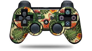 Sony PS3 Controller Decal Style Skin - Famingos and Flowers Yellow Sunshine (CONTROLLER NOT INCLUDED)