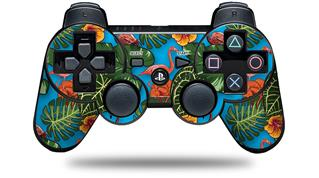 Sony PS3 Controller Decal Style Skin - Famingos and Flowers Blue Medium (CONTROLLER NOT INCLUDED)