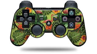 Sony PS3 Controller Decal Style Skin - Famingos and Flowers Sage Green (CONTROLLER NOT INCLUDED)