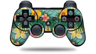 Sony PS3 Controller Decal Style Skin - Beach Flowers 02 Seafoam Green (CONTROLLER NOT INCLUDED)