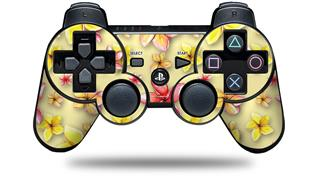 Sony PS3 Controller Decal Style Skin - Beach Flowers Yellow Sunshine (CONTROLLER NOT INCLUDED)
