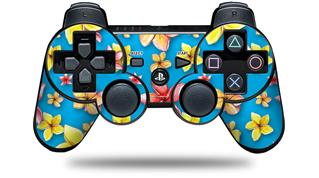 Sony PS3 Controller Decal Style Skin - Beach Flowers Blue Medium (CONTROLLER NOT INCLUDED)