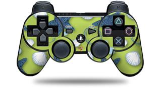 Sony PS3 Controller Decal Style Skin - Starfish and Sea Shells Sage Green (CONTROLLER NOT INCLUDED)