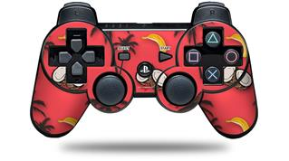 Sony PS3 Controller Decal Style Skin - Coconuts Palm Trees and Bananas Coral (CONTROLLER NOT INCLUDED)