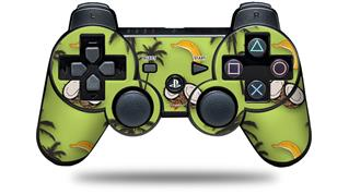 Sony PS3 Controller Decal Style Skin - Coconuts Palm Trees and Bananas Sage Green (CONTROLLER NOT INCLUDED)