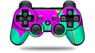 Sony PS3 Controller Decal Style Skin - Drip Teal Pink Yellow (CONTROLLER NOT INCLUDED)