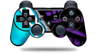 Sony PS3 Controller Decal Style Skin - Black Waves Neon Teal Purple (CONTROLLER NOT INCLUDED)