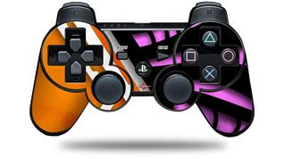 Sony PS3 Controller Decal Style Skin - Black Waves Orange Hot Pink (CONTROLLER NOT INCLUDED)
