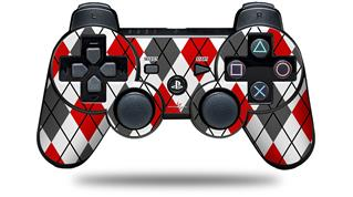 Sony PS3 Controller Decal Style Skin - Argyle Red and Gray (CONTROLLER NOT INCLUDED)
