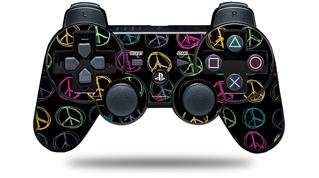 Sony PS3 Controller Decal Style Skin - Kearas Peace Signs Black (CONTROLLER NOT INCLUDED)