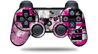 Sony PS3 Controller Decal Style Skin - Checker Skull Splatter Pink (CONTROLLER NOT INCLUDED)