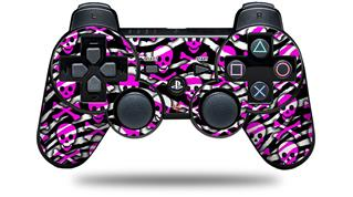 Sony PS3 Controller Decal Style Skin - Zebra Pink Skulls (CONTROLLER NOT INCLUDED)