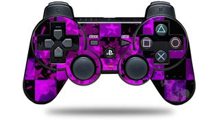 Sony PS3 Controller Decal Style Skin - Purple Star Checkerboard (CONTROLLER NOT INCLUDED)