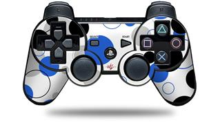 Sony PS3 Controller Decal Style Skin - Lots of Dots Blue on White (CONTROLLER NOT INCLUDED)