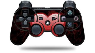 Sony PS3 Controller Decal Style Skin - Glass Heart Grunge Red (CONTROLLER NOT INCLUDED)