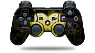 Sony PS3 Controller Decal Style Skin - Glass Heart Grunge Yellow (CONTROLLER NOT INCLUDED)