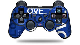 Sony PS3 Controller Decal Style Skin - Love and Peace Blue (CONTROLLER NOT INCLUDED)