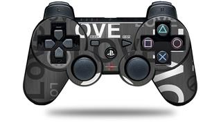 Sony PS3 Controller Decal Style Skin - Love and Peace Gray (CONTROLLER NOT INCLUDED)