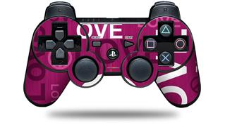 Sony PS3 Controller Decal Style Skin - Love and Peace Hot Pink (CONTROLLER NOT INCLUDED)
