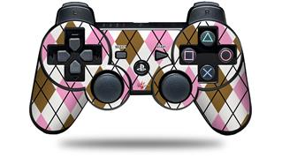 Sony PS3 Controller Decal Style Skin - Argyle Pink and Brown (CONTROLLER NOT INCLUDED)