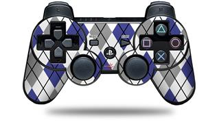 Sony PS3 Controller Decal Style Skin - Argyle Blue and Gray (CONTROLLER NOT INCLUDED)