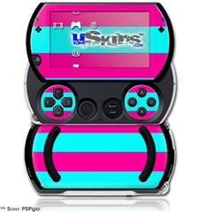 Psycho Stripes Neon Teal and Hot Pink - Decal Style Skins (fits Sony PSPgo)