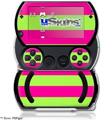Psycho Stripes Neon Green and Hot Pink - Decal Style Skins (fits Sony PSPgo)