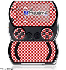 Checkered Canvas Red and White - Decal Style Skins (fits Sony PSPgo)