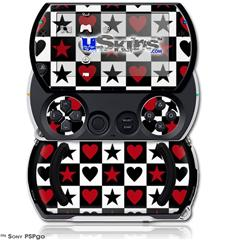 Hearts and Stars Red - Decal Style Skins (fits Sony PSPgo)