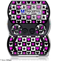 Hearts And Stars Pink - Decal Style Skins (fits Sony PSPgo)