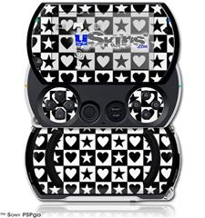 Hearts And Stars Black and White - Decal Style Skins (fits Sony PSPgo)