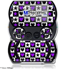 Purple Hearts And Stars - Decal Style Skins (fits Sony PSPgo)