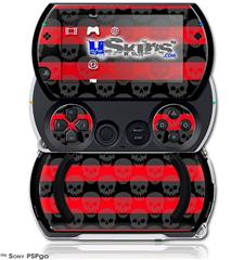 Skull Stripes Red - Decal Style Skins (fits Sony PSPgo)