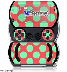 Kearas Polka Dots Green On Salmon - Decal Style Skins (fits Sony PSPgo)