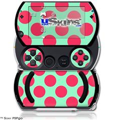 Kearas Polka Dots Pink And Blue - Decal Style Skins (fits Sony PSPgo)
