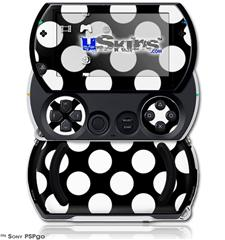 Kearas Polka Dots White On Black - Decal Style Skins (fits Sony PSPgo)